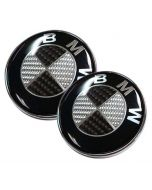 2PCS New BMW Logo Carbon Fiber EMBLEM 82mm+74mm FRONT HOOD & REAR TRUNK 2 Pins BADGE SYMBOL