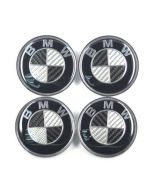 4pcs BMW 68mm Carbon Fiber Car Wheel Center Logo Cap Emblem Auto Logo Badge Chrome Emblem Badge