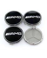 4pcs New Black AMG LOGO MERCEDES BENZ 75MM 3INCH Wheel Center Caps HUB Caps for ML SL CLK SLK