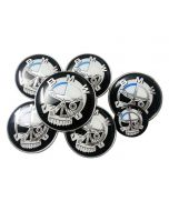 7pcs SKULL Hood Trunk Steering Emblem Badge Wheel Center Hub Caps Set 82/82mm For BMW
