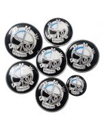7pcs SKULL Hood Trunk Steering Emblem Badge Wheel Center Hub Caps Set 82/74mm For BMW