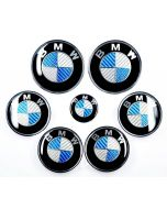 7pcs/lot New BMW Blue/White Real Carbon Fiber Emblem Logo Badge Set 82/74mm
