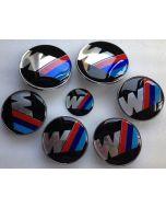 New Car Styling BMW Hood Trunk sport M Badge Steering Emblem logo Wheel Center Hub Caps 7pcs Set 82/82mm