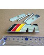Chrome Metal M Power Car Front Grill M Badge Logo EMBLEM for BMW M3 X5 E46