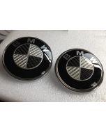 2PCS New BMW Logo Carbon Fiber EMBLEM 82mm+74mm FRONT HOOD & REAR TRUNK 2 Pins BADGE SYMBOL