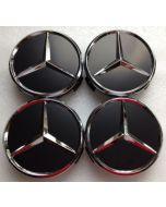 4pcs New Black MERCEDES BENZ 75MM 3INCH Wheel Center Caps HUB Caps for ML SL CLK SLK