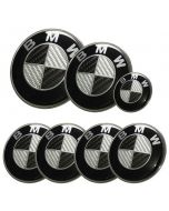 7pcs/lot New BMW Black/Silver Real Carbon Fiber Emblem Logo Badge Set 82/74mm