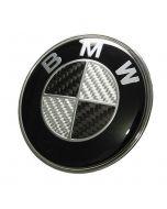 NEW BMW really carbon fiber EMBLEM 2 Pins LOGO REAR TRUNK BADGE ROUNDEL 74MM E46 E90