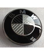 NEW High Quality really carbon fiber BMW EMBLEM 2 Pins LOGO FRONT HOOD REAR TRUNK BADGE ROUNDEL 82MM