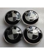 4pcs BMW 68mm Carbon Fiber Car Wheel Center Logo Cap Emblem Auto Logo Badge Chrome Emblem Badge
