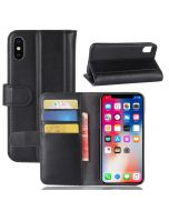 Genuine leather iPhone X iPhone XS Phone Case Wallet Flip Cover Stand Display Card Pocket