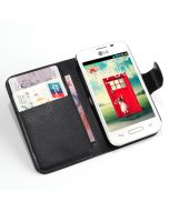 LG L40 Dual D170 DUAL SIM Phone Case Wallet Flip Cover Leather Stand Display Card Pocket