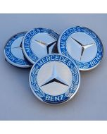 4pcs BLUE STAR LOGO MERCEDES BENZ 75MM 3INCH Wheel Center Caps AMG ML SL CLK SLK