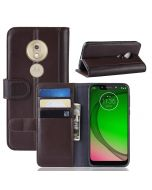 MOTO G7 Play (US) Phone Case Wallet Flip Cover Folio Genuine Leather Case Stand Display Card Pocket