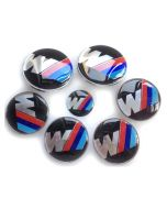 New Car Styling BMW Hood Trunk sport M Badge Steering Emblem logo Wheel Center Hub Caps 7pcs Set 82/82mm