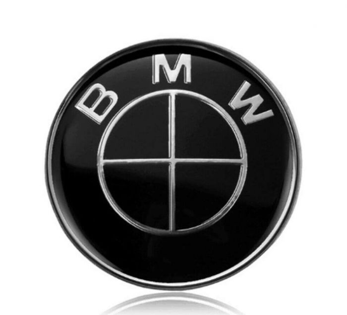 2pcs for BMW 82mm//3.25 inch Hood and Trunk Black Emblem,Including fastening grommets