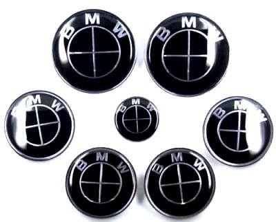 7pcs Lot New Bmw Full Black Emblem Logo Badge Set 82 74mm