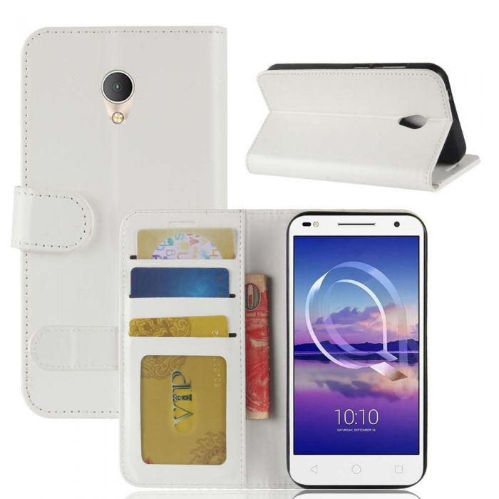 super popular 110b7 d6507 Alcatel U5 HD Flip Folio Leather Wallet Case with ID and Credit Card Pockets