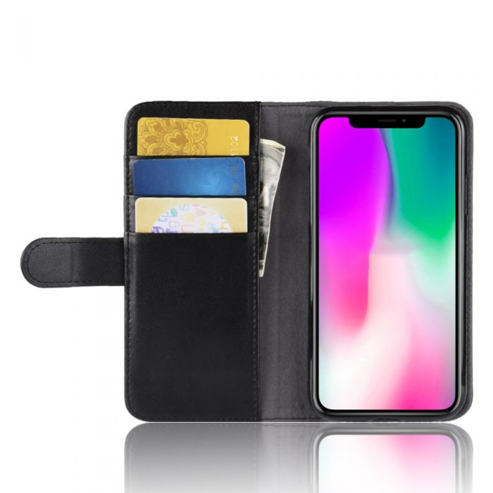Genuine Leather Apple Iphone Xr Phone Case Wallet Flip Cover Stand