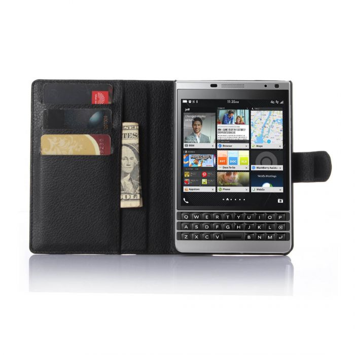 new concept 2605a 433cf BlackBerry Passport Silver Edition Wallet Flip Cover Leather Phone Case