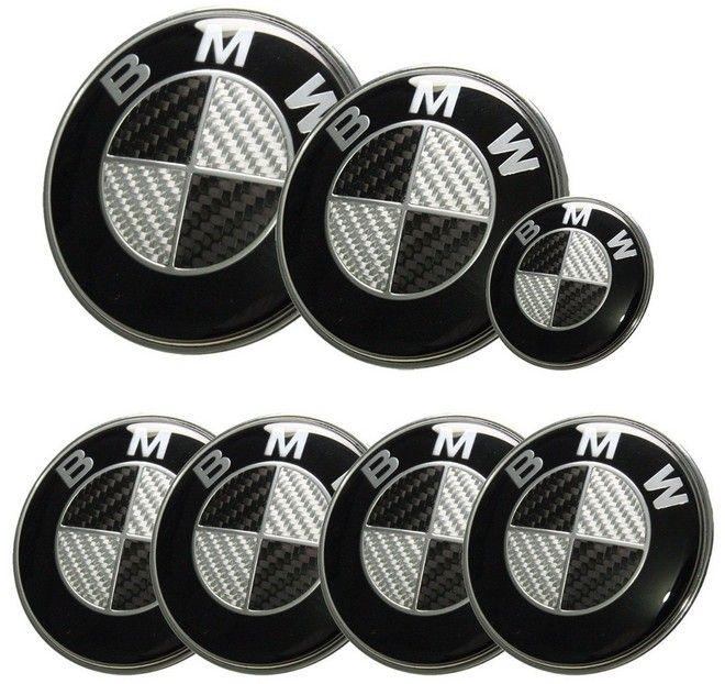 7pcs Lot New Bmw Black Silver Real Carbon Fiber Emblem Logo Badge Set 82 74mm