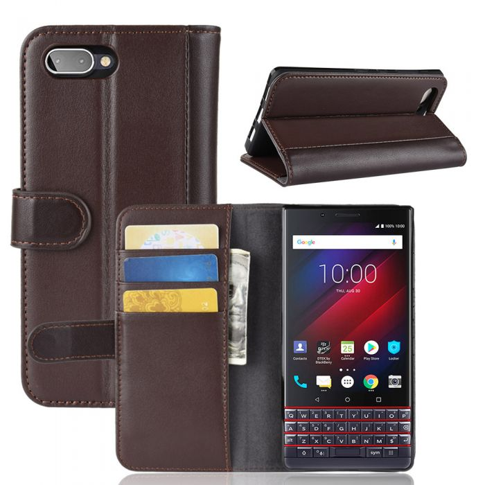 low priced f4bee 8d9f6 Genuine leather BlackBerry KEY2 LE (KEY2 Lite) Phone Case Wallet Flip Cover  Stand Display Card Pocket