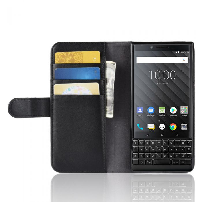 new product 8b3f4 8cdcc Genuine leather BlackBerry Key 2 Phone Case Wallet Flip Cover Stand Display  Card Pocket
