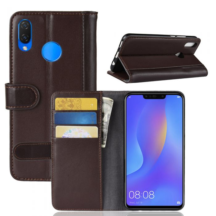huge selection of 21fbe 469e3 Genuine leather Huawei nova 3i Huawei P smart⁺ Phone Case Wallet Flip Cover  Stand Display Card Pocket