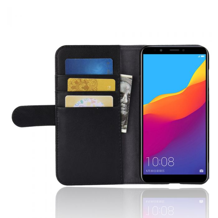 cheaper f7d88 e429f Genuine leather Huawei Y7 Prime 2018 (Y7 Pro 2018) Phone Case Wallet Flip  Cover Stand Display Card Pocket