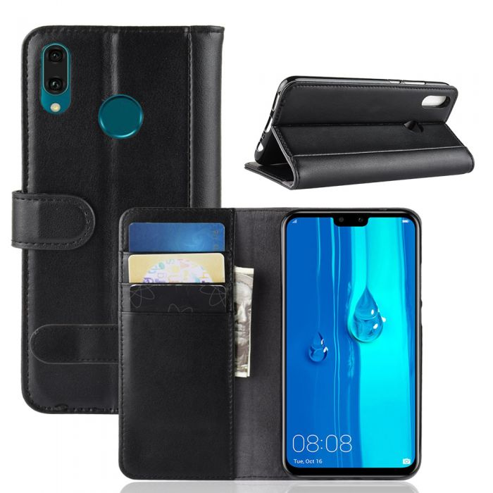 low cost c8249 1b602 Genuine leather Huawei Y9 2019 Phone Case Wallet Flip Cover Stand Display  Card Pocket