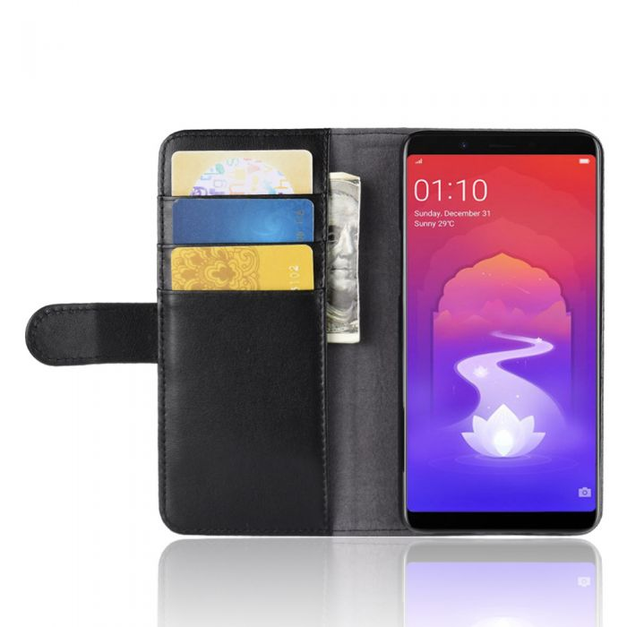 on sale f03a3 cc688 Genuine leather OPPO Realme 1/OPPO F7 YOUTH A73S Phone Case Wallet Flip  Cover Stand Display Card Pocket