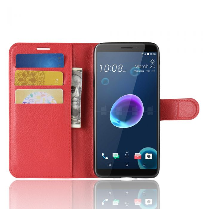 purchase cheap eca12 a98a2 HTC Desire 12 Phone Case Wallet Flip Cover Leather Stand Display Card Pocket