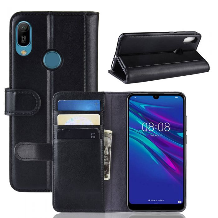 foto ufficiali b8345 21e7b Huawei Y6 2019 Phone Case Wallet Flip Cover Folio Genuine Leather Case  Stand Display Card Pocket