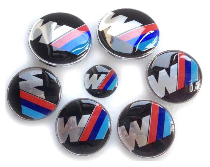 New Car Styling Bmw Hood Trunk Sport M Badge Steering Emblem Logo Wheel Center Hub Caps 7pcs Set 82 82mm