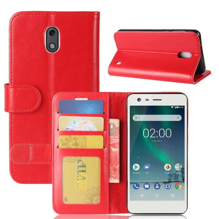 new arrival 911c9 8dab8 Nokia 2 Flip Folio Leather Wallet Case with ID and Credit Card Pockets