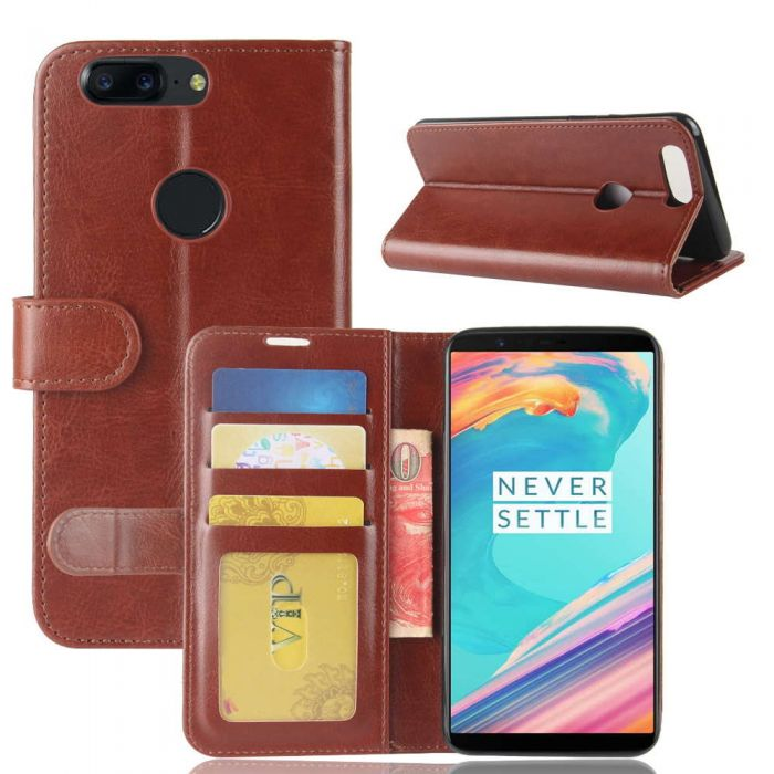 wholesale dealer be77b 142ad OnePlus 5T Flip Folio Leather Wallet Case with ID and Credit Card Pockets