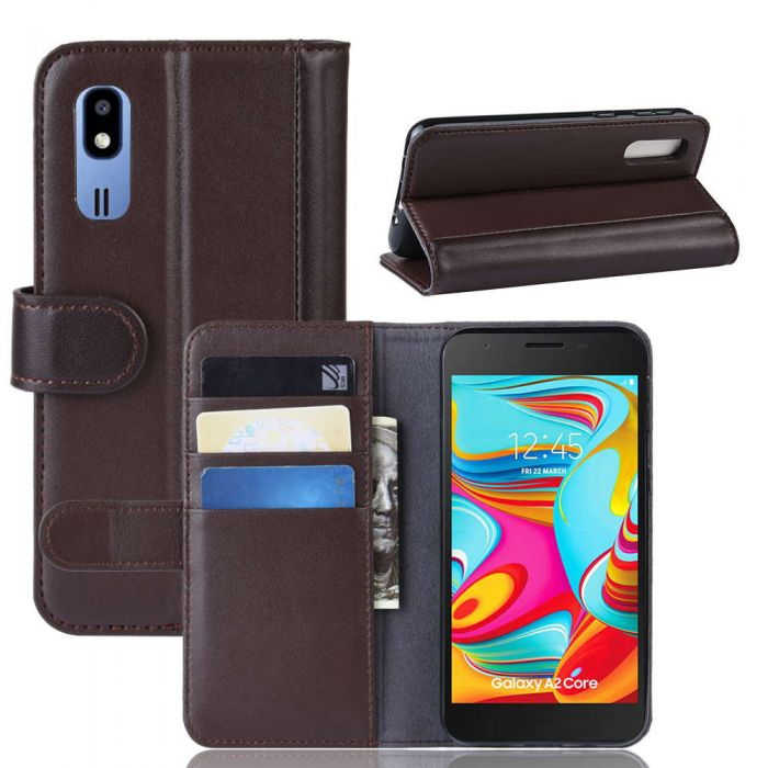 sale retailer 6d48d b1a08 Samsung Galaxy A2 Core Phone Case Wallet Flip Cover Folio Genuine Leather  Case Stand Display Card Pocket