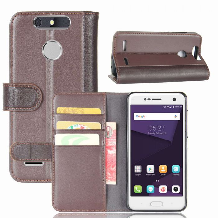 ZTE Blade V8 Lite Phone Case Wallet Flip Cover Folio Genuine Leather Case  Stand Display Card Pocket