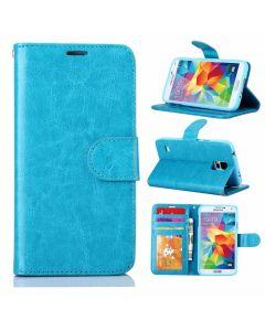 Samsung Ultra Slim Wallet Flip Cover Leather Phone Case Kickstand Card Pocket-Blue-Galaxy S5