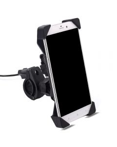Adjustable Phone holder with USB Power port Mounted on Bycycle or Motorbycycle