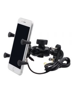 Aluminium Phone holder with USB Power port Mounted on Bycycle or Motorbycycle
