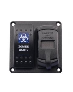 Aluminium Rocker Switch Panel with Dual USB socket and voltmeter and dual switch indicator