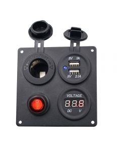 Aluminium Switch Panel with Dual USB socket and voltmeter and cigar lighter power socket