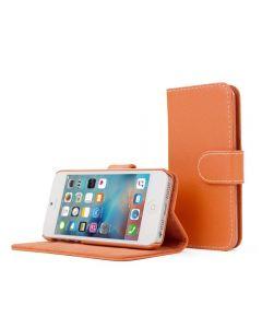 Apple iPhone Ultra Slim Wallet Flip Cover Leather Phone Case Kickstand Card Pocket-Orange-Leather-iPhone 5/5S/SE