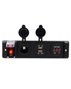 Auto reset Switch Panel with dual USB socket and 12V auxiliary power outlets