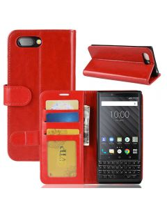BlackBerry Key 2 Flip Folio Leather Wallet Case with ID and Credit Card Pockets