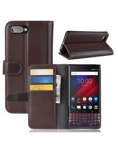 Genuine leather BlackBerry KEY2 LE (KEY2 Lite) Phone Case Wallet Flip Cover Stand Display Card Pocket