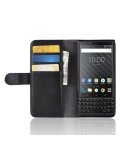 Genuine leather BlackBerry Key 2 Phone Case Wallet Flip Cover Stand Display Card Pocket