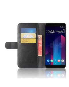 Genuine leather HTC U11 Plus Phone Case Wallet Flip Cover Stand Display Card Pocket