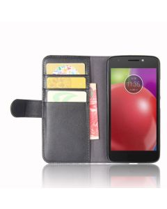 Genuine leather MOTO E4 Phone Case Wallet Flip Cover Stand Display Card Pocket